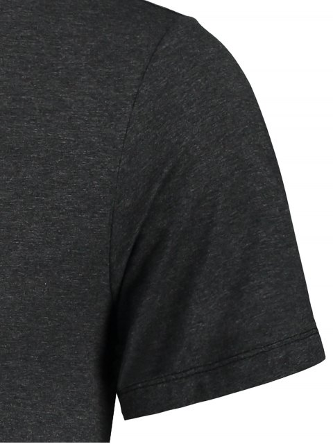 latest Leaf Printed Graphic Tee - DEEP GRAY M Mobile