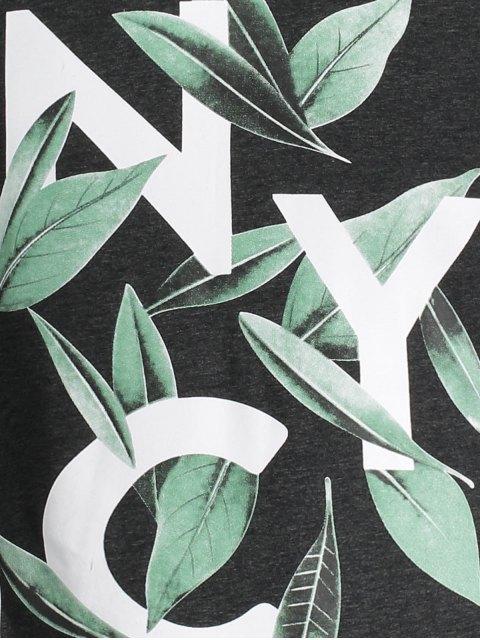 trendy Leaf Printed Graphic Tee - DEEP GRAY L Mobile