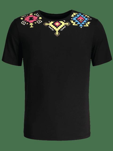 fancy Geometric Printed Tee - BLACK L Mobile