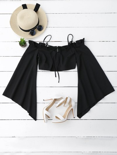 Cold Shoulder Ruffles Flare Sleeve Cropped Top
