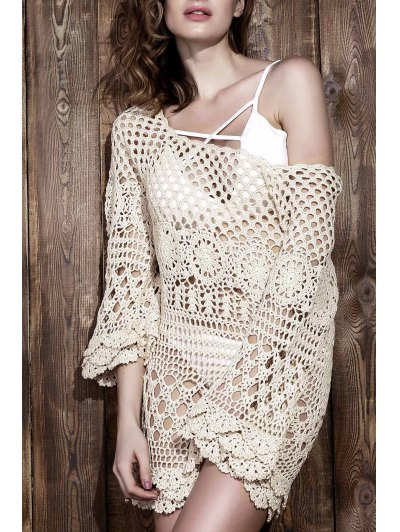 Crochet Cut Out Cover Up - Off-white One Size