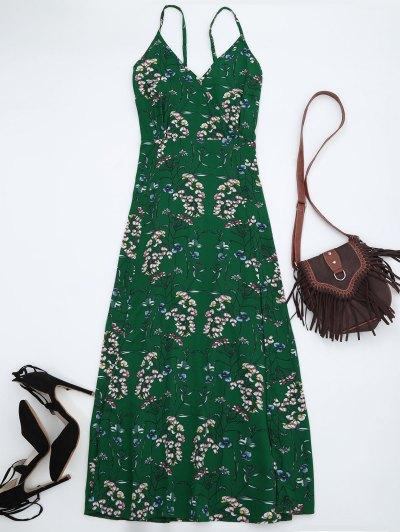 Floral Print Maxi Beach Slip Dress - Green M