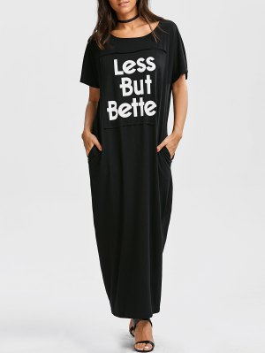 Oversized Letter Graphic Maxi Dress - Black M