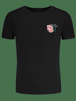 T-shirt manches courtes avec broderie florale