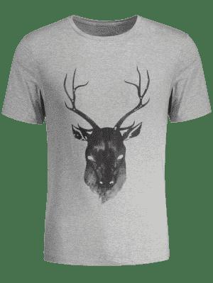 Short Sleeve Reindeer Printed Tee