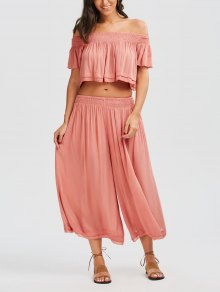 Off Shoulder Top and Wide Leg Capri Pants