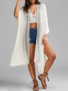 Graphic High Slit Open Front Blouse - White