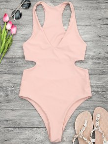 V Neck Cut Out One Piece Swimsuit