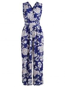 Multiway Floral Wide Leg Palazzo Jumpsuit - Blue M