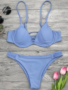 Lattice Padded Underwire Bikini Set - Blue M