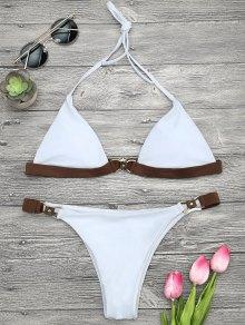 Soft Pad Color Block Halter Bikini Set