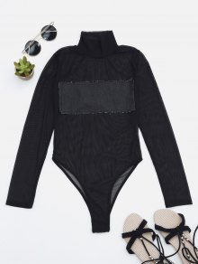 Sheer Mesh Patch Front One Piece Swimsuit