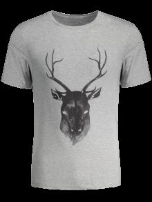 Short Sleeve Reindeer Printed Tee - Gray M