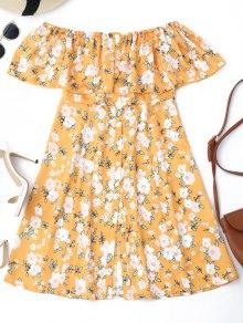 Button Down Floral Off Shoulder Mini Dress