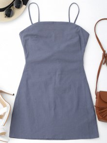 High Cut Bowknot Mini Slip Dress - Gray S