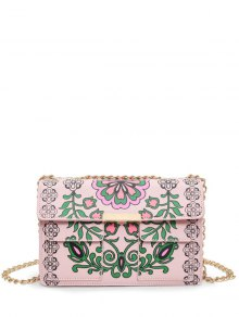 Chain Floral Print Crossbody Bag - Pink