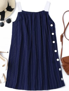 Side Button Up Stripes Mini Dress