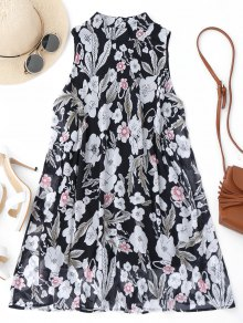 High Neck Floral A-Line Mini Dress