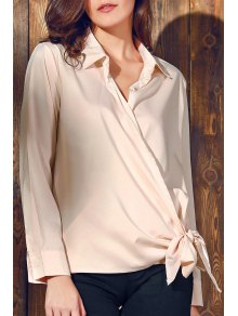Solid Color Shirt Collar Long Sleeve Knotted Blouse