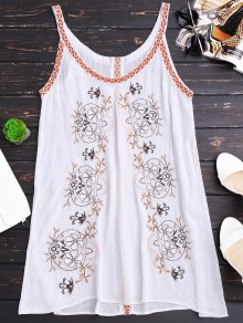 Creased Embroidered Straps Dress