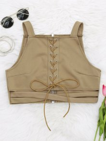 Criss Cross Cropped Lace Up Tank Top
