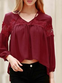 Lace Splicing V Neck Lantern Sleeve Blouse
