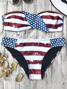 American Flag Patriotic Bandeau Bikini Set - Red And White And Blue M