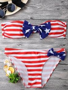 Bow American Flag Patriotic Bandeau Bikini Set