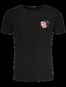 كم قصير الأزهار المطرزة المحملة - أسود M