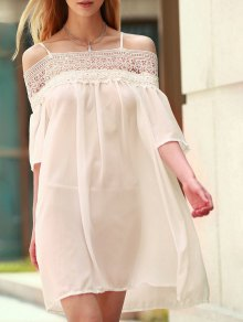 Lace Splicing Boat Neck Spaghetti Straps Dress - Shallow Pink S