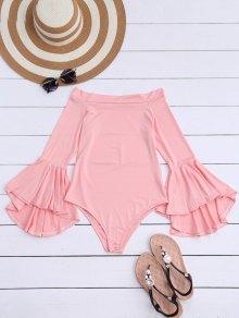 Trumpet Sleeve Off The Shoulder Bodysuit - Pink L