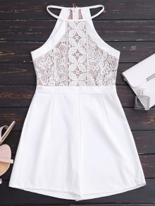 Sleeveless Lace Halter Romper - White