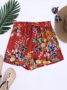Bohemian Drawstring Floral Shorts - Jacinth S