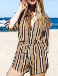 Striped Plunging Neck 3/4 Sleeve Drawstring Romper