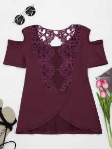 Lace Back Cold Shoulder T-shirt - Wine Red S