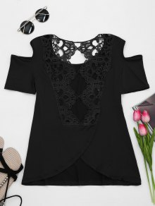 Lace Back Cold Shoulder T-shirt - Black Xl