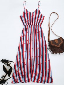 Chiffon Striped Midi Sundress - Multicolor L