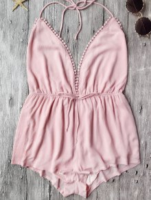 Plunge Halter Beach Cover Up Romper - Pink M