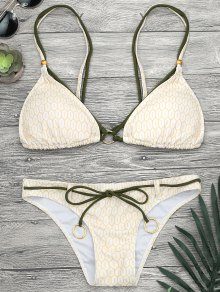 Mosaic Print Rings Strappy Bikini Set - Yellow S
