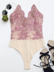 High Cut Embroidered One Piece Swimsuit - Pink S
