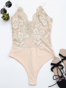 High Cut Embroidered One Piece Swimsuit - Champagne M