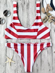 Striped Scoop Bikini Top And Bottoms - Red With White M
