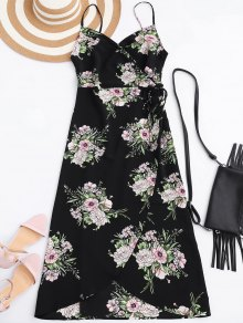 Slip Floral Wrap Dress