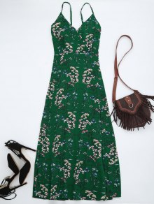 Floral Print Maxi Beach Slip Dress - Green M