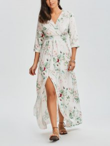 Floral V Neck Slit Maxi Dress - Floral Xl