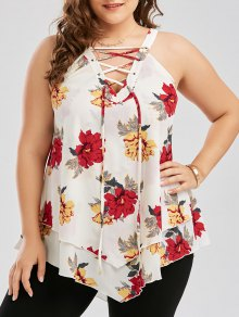 Plus Size Floral Layered Lace Up Blouse - White 3xl