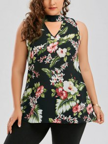 Plus Size Keyhole Neck Floral Hawaiian Blouse - Green 5xl