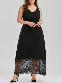 Scalloped Plus Size Maxi Lace Panel Dress - Black 3xl