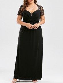Plus Size Empire Waist Lace Panel Dress - Black Xl