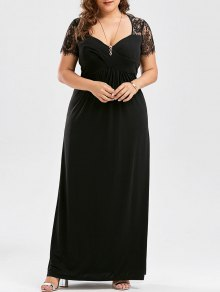 Plus Size Empire Waist Lace Panel Dress - Black 4xl